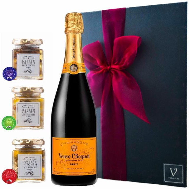 【ヴーヴ・クリコ イエローラベル ブリュット 750ml |広島産 牡蠣 3瓶 ギフト】シャンパン お歳暮 誕生日 内祝い プレゼント ワイン