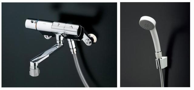 壁付サーモスタット混合水栓(タッチ、エアイン、調圧弁、流調弁、ハイカット) TMN40TE