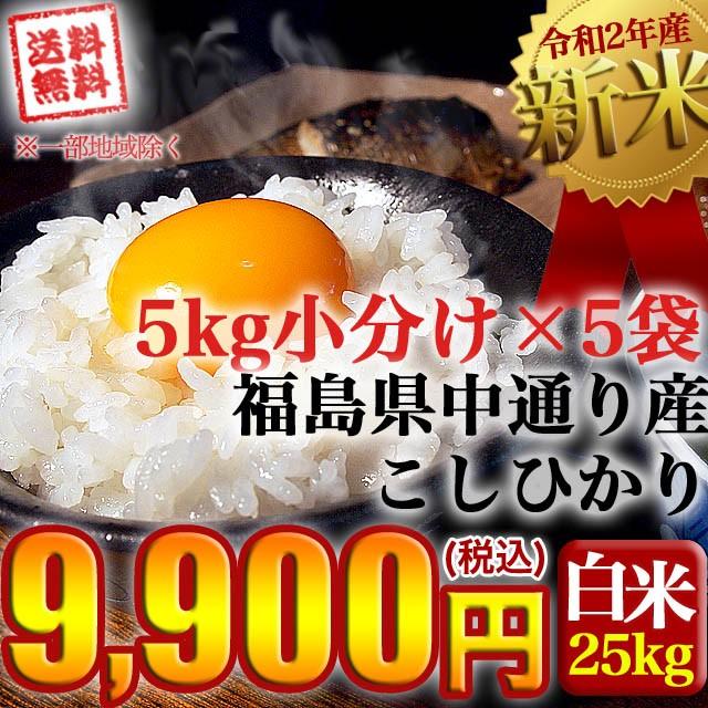 新米 お米 令和2年産 福島県中通り産 コシヒカリ 白米:25kg(5kg×5個) 送料無料