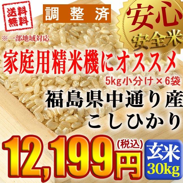 令和元年産 福島県中通り産 コシヒカリ 玄米:30kg(5kg×6個) 【調整済】【精米、白米、無洗米対応不可】精米無料 ※沖縄県・離島対応不