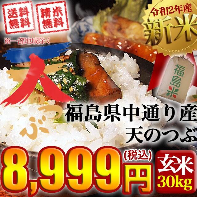 新米 令和2年産 福島県中通り産天のつぶ 玄米:30kg(白米:約27kg) 精米無料 送料無料 ※沖縄県・離島対応不可
