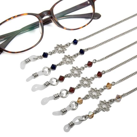 眼鏡チェーン メガネチェーン 眼鏡ストラップ メガネストラップ スワロフスキー スター 星 ゴールド シルバー レディース グラスホルダー