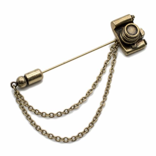ラペルピン メンズ ブローチ ピンブローチ カメラ ユニーク レディース ハットピン チェーン 人気 おしゃれ ブランド プレゼント プチギ