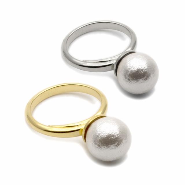 コットンパール リング 指輪 シンプル ゴールド シルバー ホワイト 結婚式 人気 おしゃれ ブランド プレゼント プチギフト 雑貨 送料無料