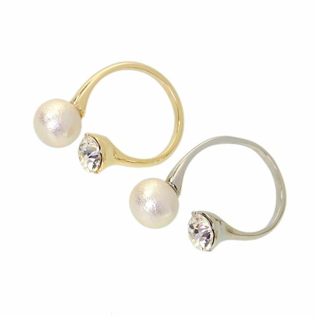 コットンパール スワロフスキー リング 指輪 フリーサイズ 人気 おしゃれ ブランド プレゼント プチギフト 雑貨 送料無料