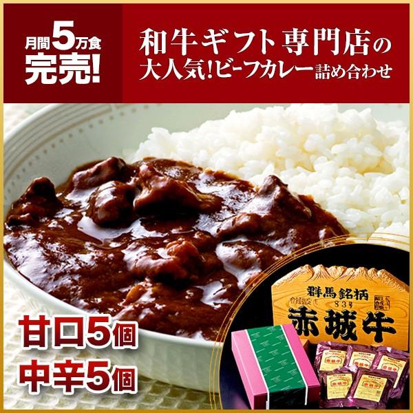 肉 国産牛 牛肉 赤城牛レトルトビーフカレー 赤城牛ビーフカレー詰合せ(甘口5個 中辛5個 )