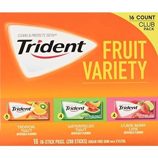 ●トライデント Trident Sugar Free Gum シュガーフリーガム フルーツバラエティ 16パック