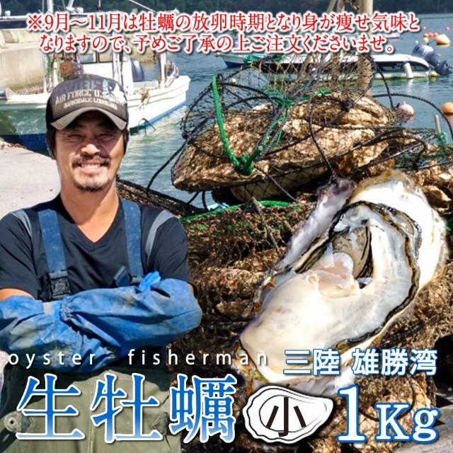 生ガキ 生牡蠣 小 1kg 7-12個入 殻付き 生食用 生カキ 宮城県産 お取り寄せ バーベキュー