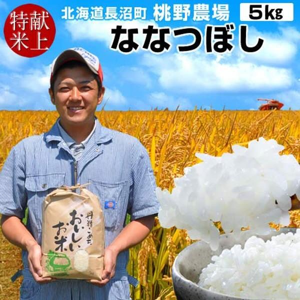 新米 令和元年産 お米 ななつぼし 5kg 精米白米 皇室献上米 北海道産 特A 2019 農家直送 桃野農場
