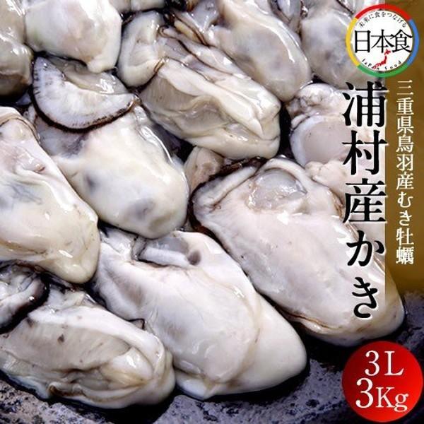 牡蠣 むき身 特大 3L 3kg(25〜30粒×3袋)三重県志摩市 浦村かき 生浦湾 浦村産 カキ むき 冷凍 加熱用 生牡蠣