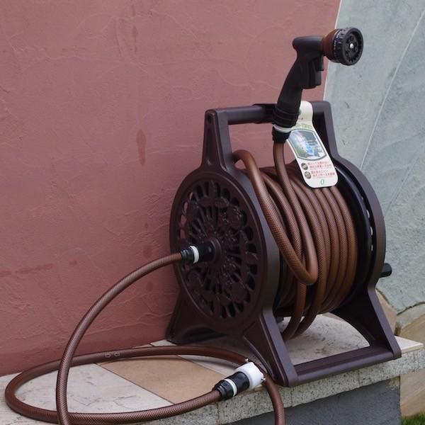 ホースリール ブロンズリール 30m お庭の水やりを簡単にする散水道具