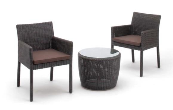 ガーデン家具 サイドテーブル+スクエアチェアー2脚セット ダークブラウン クッション付