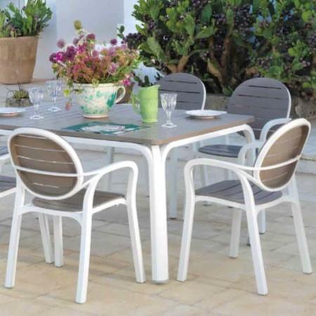 ガーデン家具 伸長式おしゃれアロロテーブル+パルマアームチェアー4脚セット