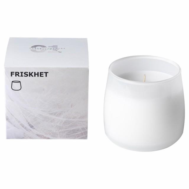 IKEA イケア 香り付きキャンドル グラス入り リネンの風 ホワイト ホワイト z338445 FRISKHET フリスクヘート