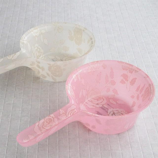 湯桶 風呂 手桶 アクリル 手おけ バス用品 薔薇柄 W29×H7.5×D17cm 耐熱60℃ 風呂桶 浴室用具 バスボウル おしゃれ 花柄 バラ柄 ピンク