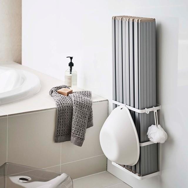 マグネットバスルーム折り畳み風呂蓋ホルダー ミストMIST ホワイト/04862 山崎実業