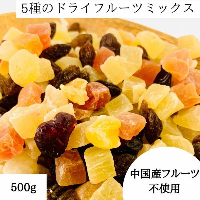 ドライフルーツ ミックス 5種 中国産不使用 500g 送料無料 パイン パパイヤ メロン レーズン クランベリー 1000円 ポッキリ