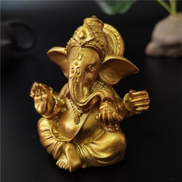 ガネーシャ 仏像 インド象 神 彫刻 置物 装飾 彫像 開運グッズ 風水 金運 招福 オブジェ 繁栄 富 CZJB882