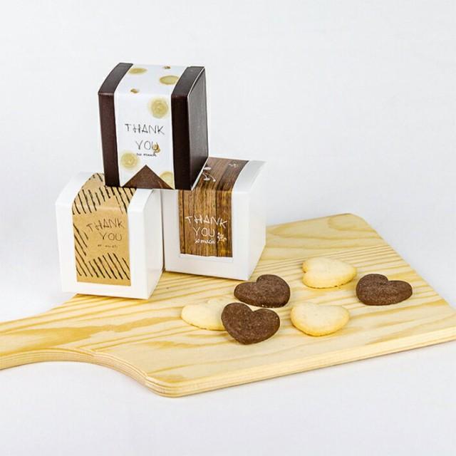 退職・お礼用プチギフト 「プチBOXクッキー ハートクッキー 6枚 入り」 ばらまきにも対応 デコシール・レジバック対象商品