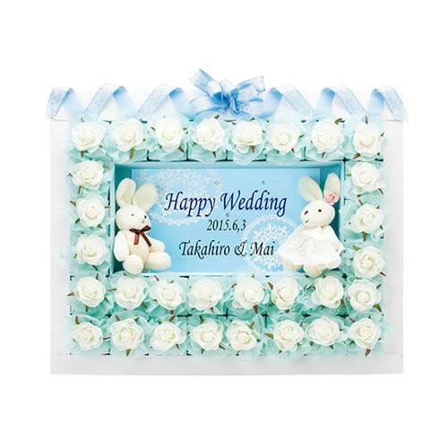 ウェルカムボード ハッピーラパン・ブルー ハートパイ2枚入り&紅茶1包み×30個セット ウェディング プチギフト 二次会 結婚式