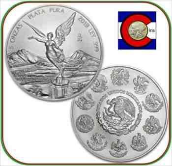 アンティークコイン 2019メキシコリベルタッド5オンスBUメキシカンシルバーコイン(ダイレクトフィットカプセル) 2019 Mexico Libertad