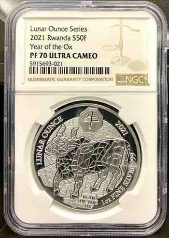 アンティークコイン 2021年ルワンダ太陰暦1オンス999銀貨-NGCPF 70 UCAM 2021 Rwanda Lunar Year of the Ox Proof 1 oz 999 Silver Coin