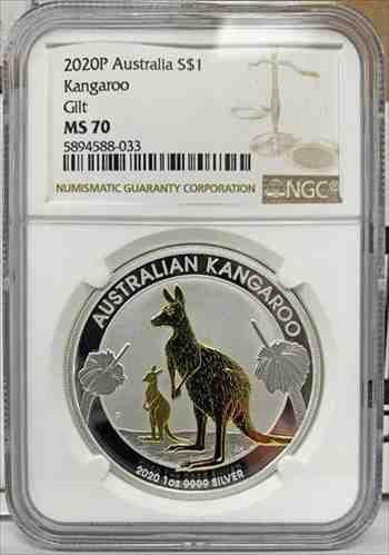 アンティークコイン 2020オーストラリア$ 1ゴールド金メッキカンガルー1オンス.9999シルバーコイン-NGCMS 70 2020 Australia $1 Gold Gil