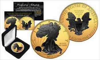 アンティークコイン 20181オンス.999シルバーアメリカンイーグルUSコイン24Kゴールド金メッキw /ブラックルテニウム 2018 1 oz .999 Silv