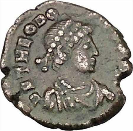 アンティークコイン テオドシウス1世偉大な古代ローマのコイン成功のリースi42545 Theodosius I the Great Ancient Roman Coin Wreath of