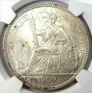 金貨 銀貨 硬貨 シルバー ゴールド アンティークコイン 1909-フランス領インドシナピアストルコイン1P-NGCMS61(BU UNC)-レアグレード 1