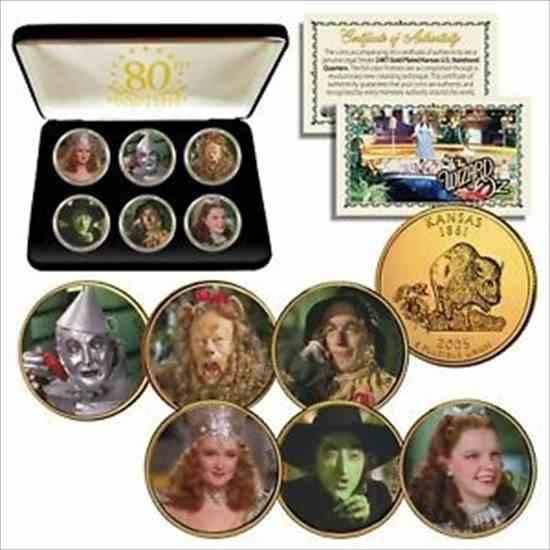 金貨 銀貨 硬貨 シルバー ゴールド アンティークコイン WIZARD OF OZカンザスクォーターズ24Kゴールドクラッド6コインセット(80周年記念
