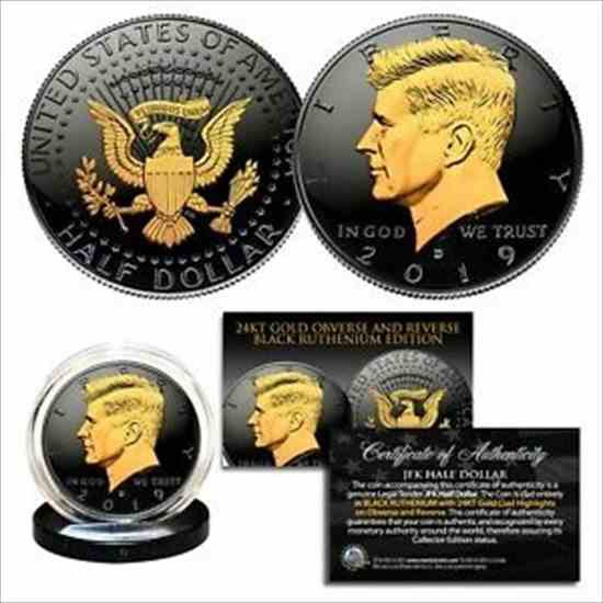 金貨 銀貨 硬貨 シルバー ゴールド アンティークコイン 2019ブラックルテニウムJFKハーフダラーUSコイン両面24Kゴールド(D-MINT) 2019