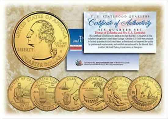 金貨 銀貨 硬貨 シルバー ゴールド アンティークコイン 2009 DC US TERRITORIES Quarters 24K GOLD PLATED 6-Coin Set STATEHOOD w / Cap
