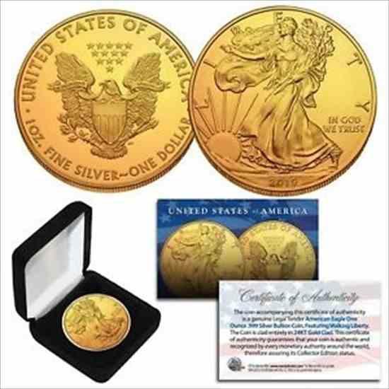金貨 銀貨 硬貨 シルバー ゴールド アンティークコイン 2019 1 Oz 999 Fine Silver American Eagle $ 1 Coin 24K Gold Gilged with BOX&