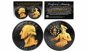 金貨 銀貨 硬貨 シルバー ゴールド アンティークコイン 1976 BLACK RUTHENIUMバイセンテニアルUSクォーターコイン(24Kゴールド付き)両