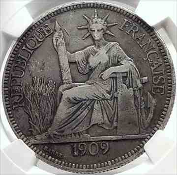 金貨 銀貨 硬貨 シルバー ゴールド アンティークコイン 1909フランス領インドシナアンティークシルバーピアストルコインフランス共和国NG