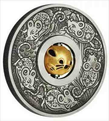 金貨 銀貨 硬貨 シルバー ゴールド アンティークコイン 2020 1Ozシルバーツバル$ 1マウス回転チャームアンティーク仕上げコイン 2020 1 O