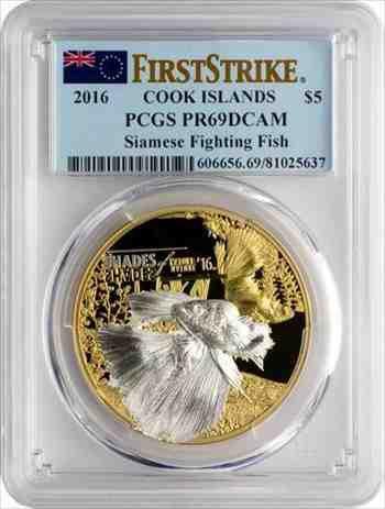 金貨 銀貨 硬貨 シルバー ゴールド アンティークコイン 珍しい2016年の料理人はシャムの戦いの魚金メッキシルバー$ 5 PCGS PR 69-mint.25