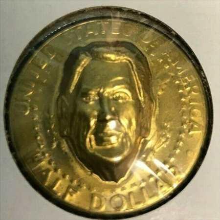 金貨 銀貨 硬貨 シルバー ゴールド アンティークコイン ロナルドレーガンポップアウト打ち出し半ドル金メッキコイン/メダル Ronald Reaga