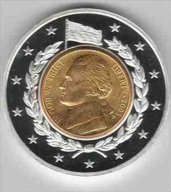 金貨 銀貨 硬貨 シルバー ゴールド アンティークコイン 記念インレイ金メッキコインで包まれたジェファーソンニッケルbyアメリカンミント