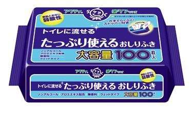 日本製紙クレシア アクティ トイレに流せるたっぷり使えるおしりふき 大容量 100枚入/4901750806217/80623