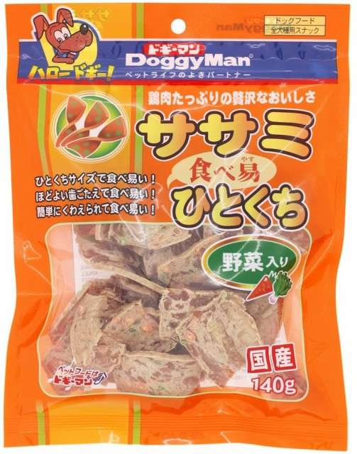 ドギーマン 犬用おやつ ササミ食べ易ひとくち 野菜入り 140g