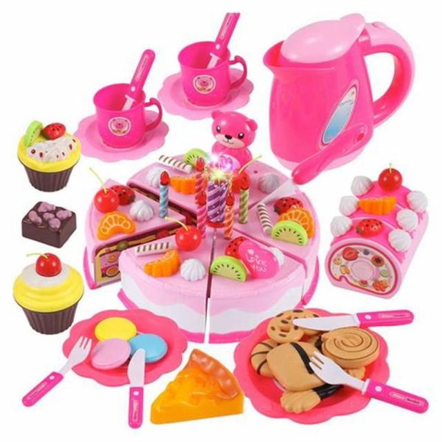 80ピース おままごとセット!!誕生日ケーキ キッチン 食品 おもちゃ ミニチュア ドールハウスにも♪