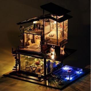 LED付 木製ドールハウス 手作りキット プライベート ビーチ リゾート ログハウス DIY ミニチュア 3Dパズル おもちゃ 誕生日 プレゼント