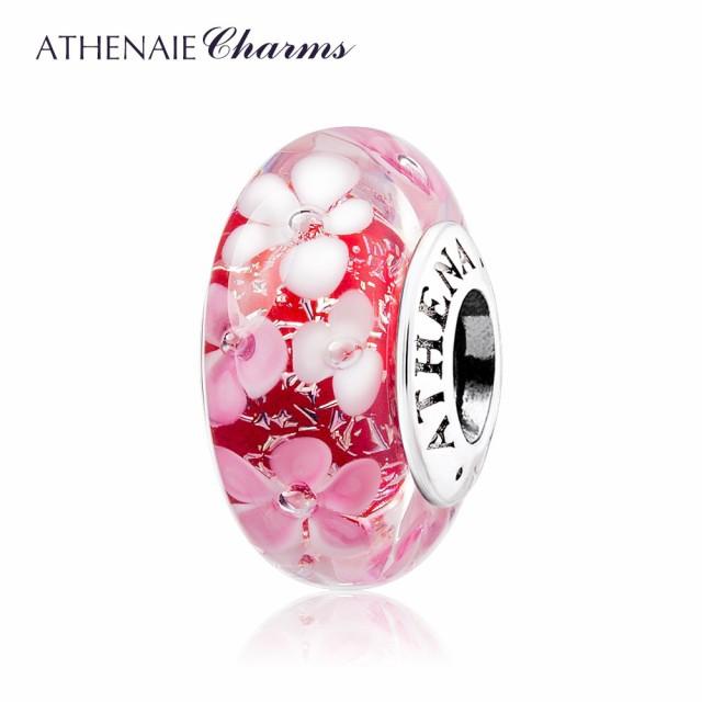 ATHENAIE パンドラ適合 ビーズチャーム シルバー925 ムラーノガラス Murano 925Silver Charm Bead Fit Pandora ピンク 人気