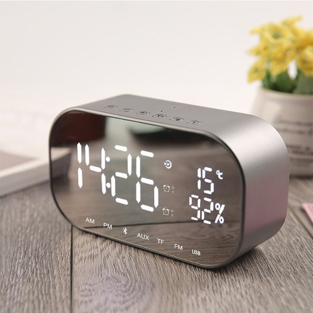 EAAGD LEDアラーム時計付きFMラジオワイヤレスBLUETOOTHスピーカー