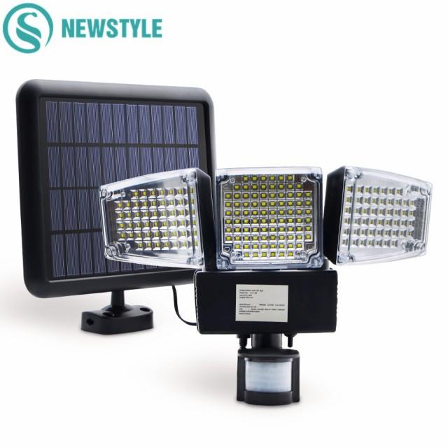 防犯対策に 188LED 搭載 人感センサーライト 太陽光 ソーラー パネル セキュリティ 照明 照射 車庫 玄関灯 庭 防水