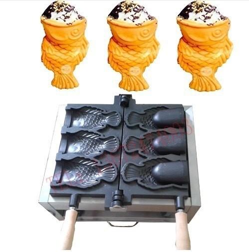 アイスクリーム ワッフルコーン パフェ たい焼き 機械 魚型 オープン鋳型 ガスタイプ 業務用 道具 ストリートスナック 海外 屋台 スイー