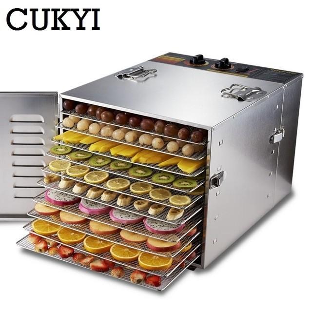 ステンレス鋼食品乾燥機 果物・野菜・ハーブ・スナック・干肉等 10層 業務用食品乾燥機 110ボルト