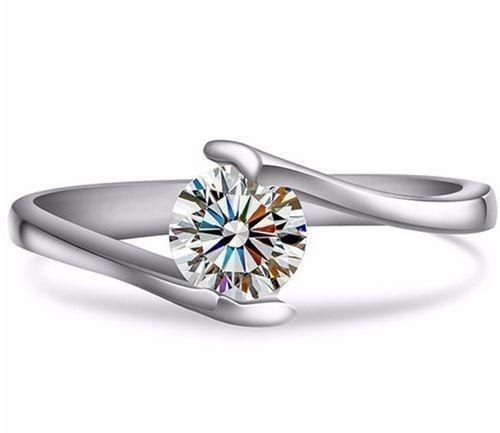 C&Cブランドテストポジティブモイサナイトダイヤモンドリングソリッドホワイトゴールド0.5CTソリティアエンゲージリング女性ジュエリー1